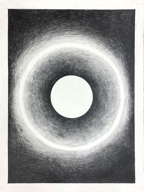 <i>Study 01 (Black Holes and Singularity)</i>, 2020, Lead on archival paper, 25 x 19 inches