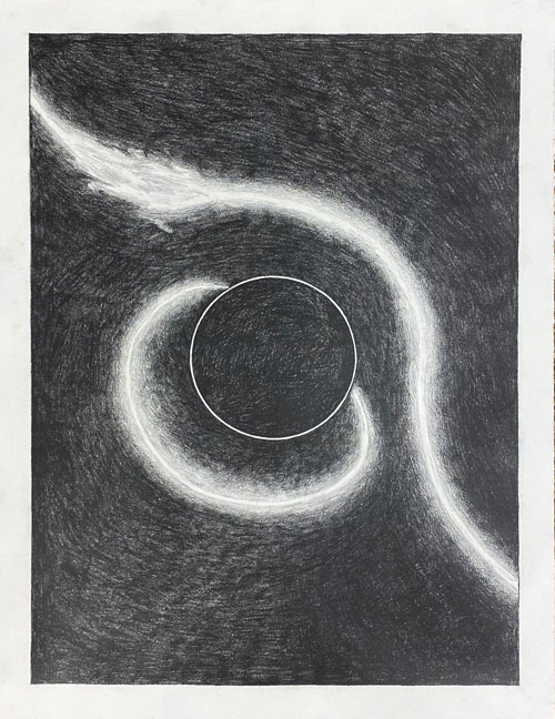 <i>Study 03 (Black Holes and Singularity)</i>, 2020, Lead on archival paper, 25 x 19 inches