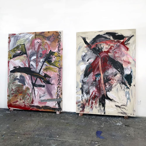 (Left) <i>Thy Kingdom Come</i>, 2019, Oil, acrylic and spray paint on canvas, 99 x 75 inches<br />(Right) <i>Lais</i>, 2018, Oil, acrylic and conté on canvas, 96 x 67 inches